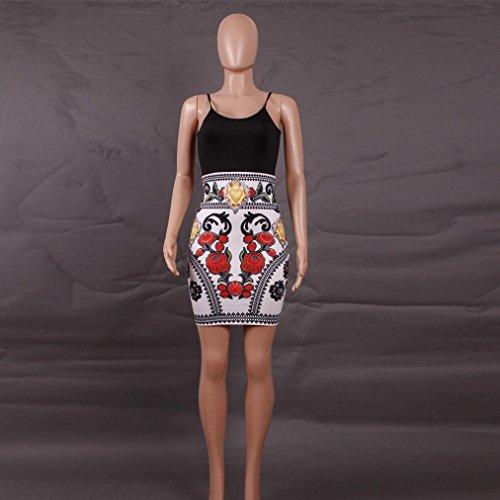 Femmes Robe,Tonwalk Mode Femmes Bandage Courroie de Spaghetti Bodycon Robes de mariée Impression de fleurs Noir