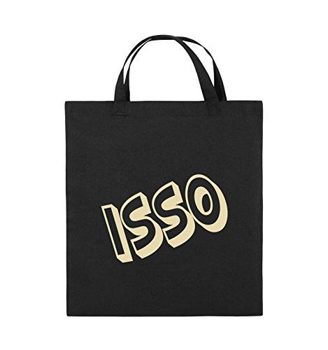 Comedy Bags - ISSO - COMIC SCHIEF - Jutebeutel - kurze Henkel - 38x42cm - Farbe: Schwarz / Pink Schwarz / Beige