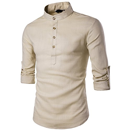 Mirecoo Herren lässig Fit Langarm Leinen-Hemd Freizeithemd Shirts, S, Kaki 17