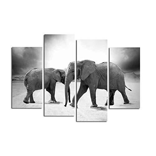 4 Panneaux Framed Wall Art Elephant Peinture sur Paysage Animal Polyester Photos de Décoration fgyhty