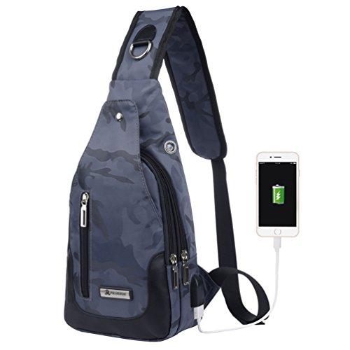 Vbiger Brusttasche Sling Rucksack Schultertasche Brusttaschen für Damen und Herren Daypack Militär Sporttasche, Stil2-blau+, Einheitsgröße