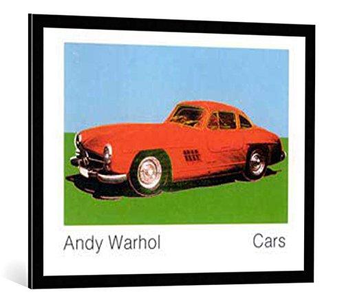 """Bild mit Bilder-Rahmen: Andy Warhol """"Cars, 300 SL Coupé, Bj. 1954"""" - dekorativer Kunstdruck, hochwertig gerahmt, 90x70 cm, Schwarz / Kante grau"""
