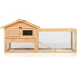 zoomundo Clapier Cage à Lapin avec Toit Repliable et enclos extérieur Animaux de Compagnie Cobaye Mouse Enclos Jardin en Bois