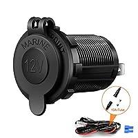 12V/24V Cigarette Lighter Socket Power Outlet, Rocketek Waterproof Marine Charger Socket adapter Receptacle for Car Marine Motorcycle ATV RV, with Wire Fuse Boat DC lighter socket plug
