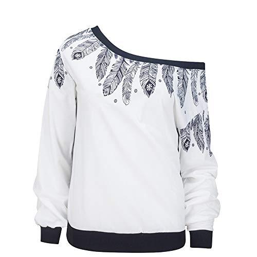 ESAILQ Mode Damen Casual Kurzarm Skew Neck Trägerlosen Blumendruck T-Shirt Tops (L, Weiß-1)