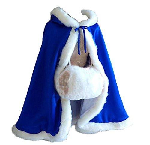 kivie kurz Umhang für Brautkleid mit Pelz 68 cm,verschiedene Farben (Königsblau)