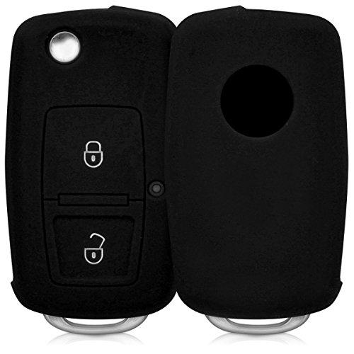 kwmobile Accessoire clé de Voiture pour VW Skoda Seat - Coque pour Clef de Voiture Pliable VW Skoda Seat 2-Bouton en Silicone Noir - Étui de Protection Souple