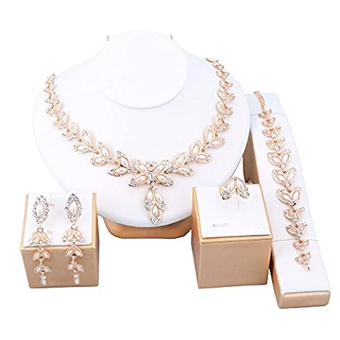 OUHE 18K Gold Plated Leaves Shaped Necklace / Earrings / Ring / Bracelet Jewelry Set Africa Beads Costume Show Wedding