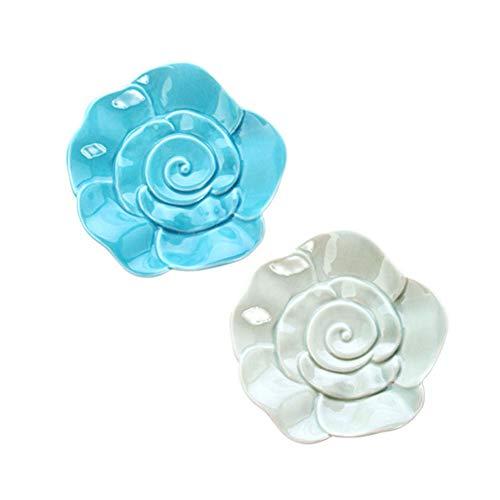 CXNY Rosettenform Schmuck Ringhalter Keramik Kleine Platte(2er Set),Blau/Hellgrün Light Blue Dessert