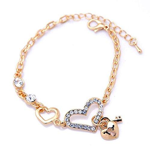 SODIAL(R) En forme de coeur Bijoux Bracelets plaque or pour la chaine de Femmes mode Bracelet avec Cristal