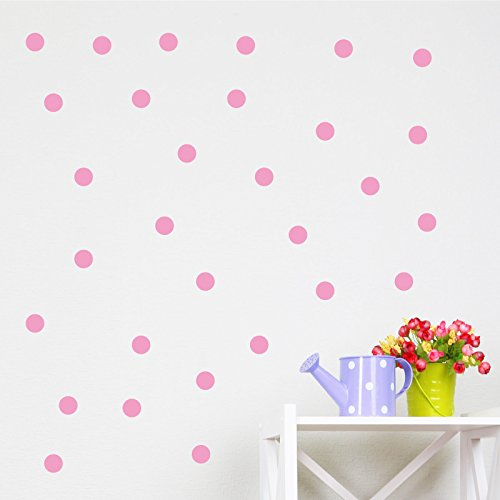 Booizzi - Juego de 120adhesivos murales de lunares, vinilo, 24 colores disponibles, rosa