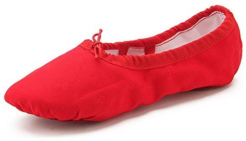 Dreamone Balletschläppchen Ballettschuhe Gymnastik Schläppchen Tanzen Ballerina Spitzen-Schuhe Damen Mädchen Kinder Rot
