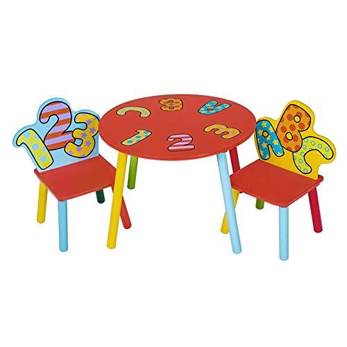 GYiYi Kinder Aus Holz Runden Tisch Und 2 Buchstabensessel, Aktivität Kindertisch, Esstisch, Spiel Studie Tabelle (1-6 Jahre Alt Jungen Und Mädchen)