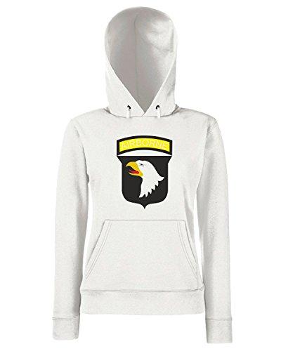 T-Shirtshock - Sweats a capuche Femme TM0005 Airborne U S Army brasile Blanc