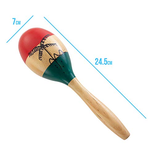 World Rhythm Natural Hand Painted Wooden Maracas, Full Size Pair