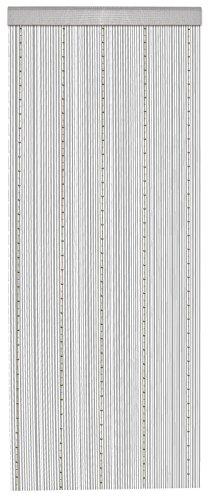 WOMETO Fadenvorhang Perlen - grau/Silber 90x245, grau mit Silbernen Perlenketten, Stangendurchzug