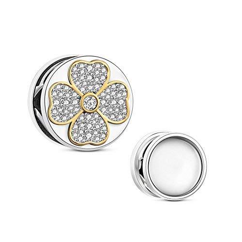 TinySand 925Sterling Silber Fotos addible Runde Charme mit Zirkon Blumen Passform europäischen