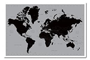 Poster Planisphère Contemporaine Noir et Gris Avec Cadre 96,5cm x 66cm