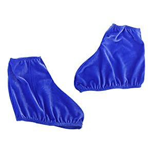Paar Samt Wiederverwendbaren Eislaufschuh Dehnbaren ueberschuhe Koenigsblau M
