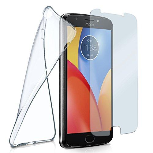moex Silikon-Hülle für Motorola Moto E4 Plus | + Panzerglas Set [360 Grad] Glas Schutz-Folie mit Back-Cover Transparent Handy-Hülle Motorola Moto E4 Plus Case Slim Schutzhülle Panzerfolie