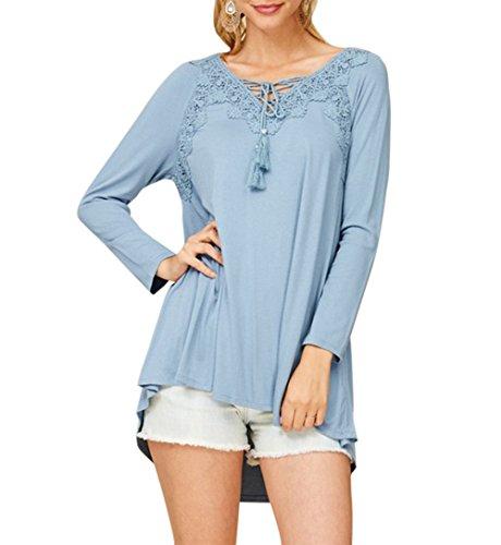 Winfon Tunique Femme Manche Longue Grande Taille Coton Col v Dentelle Casual Blouse Top Haut Tee Shirt Longue Bleu