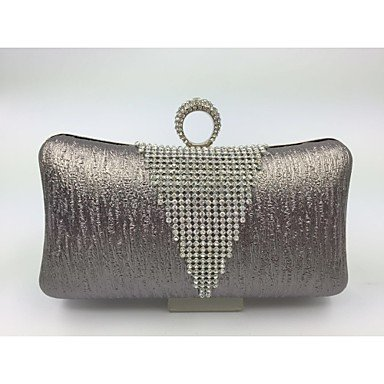 pwne Womenleather Art Formeller Abend Tasche Pink/Gold/Silber/Grau Gray