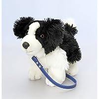 Preisvergleich für Keel Toys Deluxe 30cm Hund auf Blei Black & White Plüsch Stofftier