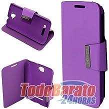 Funda libro iman MORADA Alcatel One Touch POP C7