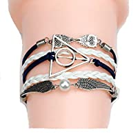 Multilayer Braided Bracelets Vintage Owl Harry Potter Wings Bracelet Woven Leather Bracelet Bangle