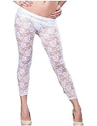 Ohyeah Leggings de encaje floral de la mujer ver a través de pantalones talla única