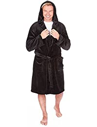 Mens Pierre Roche Hooded Plain Fleece Dressing Gown Robe Medium To 5XL