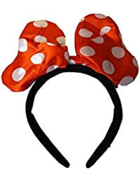 Disney Mickey mouse, minnie mouse red & white headband with large padded bow ears fancy dress by Fat-catz-copy-catz