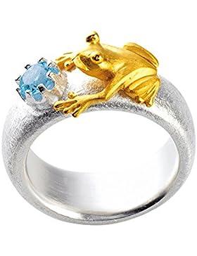 Drachenfels Damen-Ring Froschkönig Silber teilvergoldet Topas blau Brillantschliff - D FR 132-1/AG