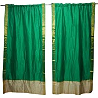 Mogul Interior 2 Indian Sari Curtains Drape Panels Green Bollywood Party Decor