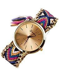 Reloj - GENEVA Reloj de pulsera de cadena trenzada de mujer (Modelo 12)