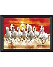 SAF 7 Running Horses Vastu UV Coated Home Decorative Gift Item Framed Painting 14 inch X 20 inch