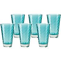 Leonardo 014775 Juego de 6 Vasos Grandes Vasos de Vino, Apto para lavavajillas, Laguna de Color Turquesa/Azul