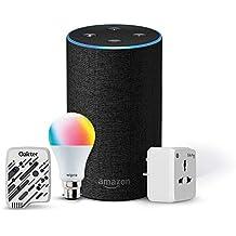 Amazon Echo (Black) Bundle with Oakter 6A smart plug, Wipro 9W smart bulb and universal voice remote