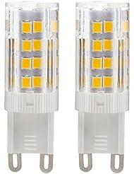 Dayker Bombillas LED G9 5W Equivalentes A Lámparas halógenas De 30W, Blanco Cálido 2700-3000k, 350-380LM, AC 220-240V, 51x SMD2835