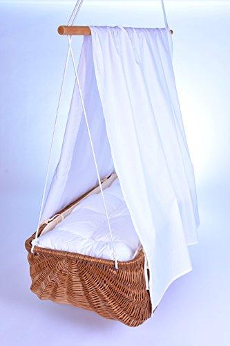 *SchwabenKids® gr.Hängekorb + geprüfte Federwiege + Zöllner Wäscheset rosa Nest Ökotex Babykorb Hängewiege Babyhängekorb*