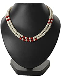 Bling N Beads Double Line White Pearl Necklace With Color Beads