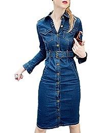 307f1a7761cef9 Scothen Damen Jeanskleid Hemdblusenkleid Tunika Jeans Bluse Frühling Sommer  Elegant Bodycon Jeanskleid Langarm…