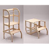 Descapotable Torre de Aprendizaje/Mesa, all-in-one, Montessori learning tower - DE MADERA/antique BRASS clasps