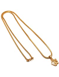 Jewar Mandi Gold Plated Om ohm Locket Chain 24 inch god Real Look 7707 for Men Women Girls