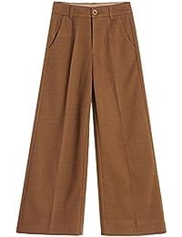 Zhiyuanan Mujer Otoño E Invierno Pantalones De Pata Ancha Talla Grande Tweed Rectos Palazzo Pants Moda Talle Alto Pantalon Anchos Chic Campana Trouser