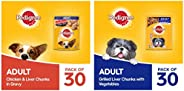 Pedigree Adult Wet Dog Food, Chicken & Liver Chunks in Gravy, 70 g (Pack of 30) & Adult Wet Dog Food,