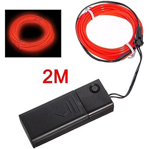 SODIAL(R) Rojo Flexible EL cable de luz de neon 2M Dance Party Decoracion + Controlador