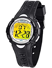 Kinder Digitaluhren, 7 Farben LED-Licht Kinder Sport Armbanduhr Jungen Wasserdicht Kinderuhr mit Alarm Stoppuhr, Kinderuhren Outdoor Armbanduhr für Jungen Mädchen (Schwarz)