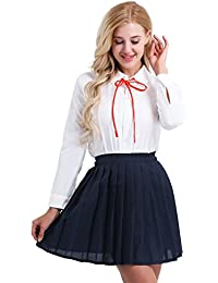 iEFiEL Schulmädchen Kostüm Damen Anime Schule Uniform Lingerie Cosplay Kostüm Zu Karneval Fasching Kleid Outfits S-XXL