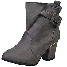 XINANTIME - Hebilla de las mujeres tacones altos Martin Shoes Botas de mujer Belt Warm Botines (40 EU, Gris)